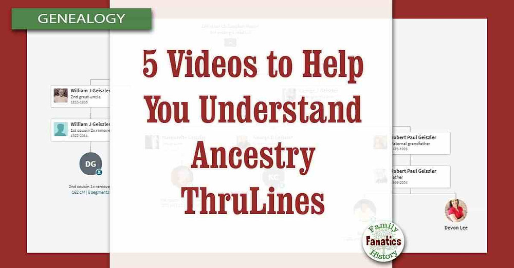 Snapshot of Ancestry ThruLines with prompt 5 video to help you understand thrulines