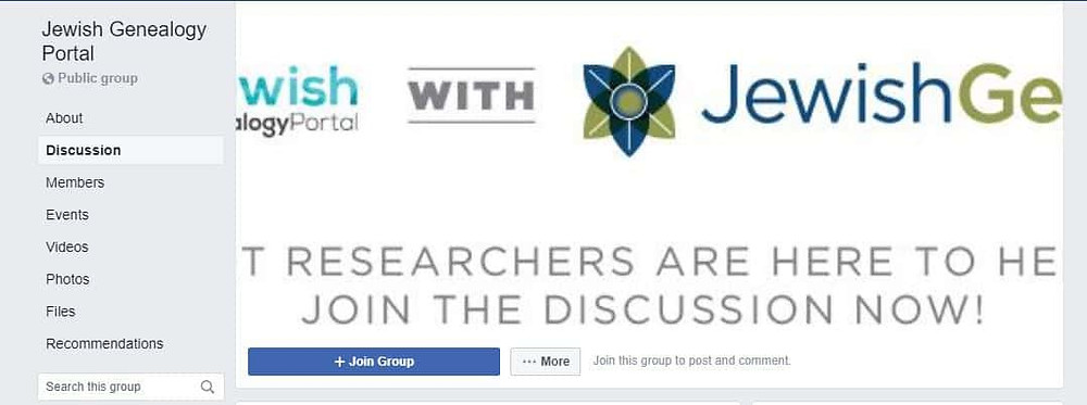 Join the discussion on the Jewish Genealogy Portal Facebook group