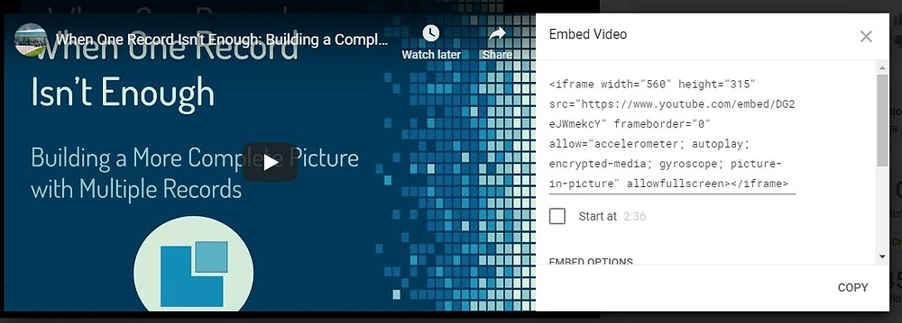 Screen shot of how to copy the html code for embedding youtube videos in a website