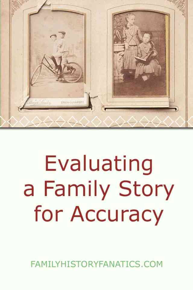 vintage photo album with title how to evaluate family stories for accuracy