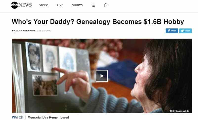 ABCNews suggested genealogy is nearly as popular a gardening.