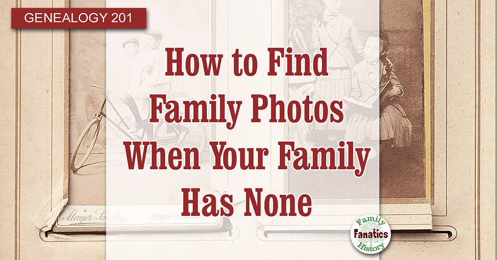 Vintage family photo album with title how to find family photos when you family has none