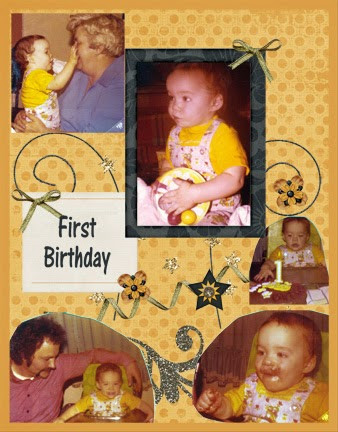 gold and black scrapbook page featuring 1970s photos left-side
