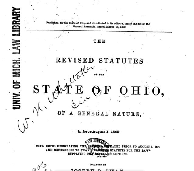The Revised Statutes of the State of Ohio of 1860