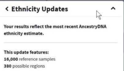 AncestryDNA Ethnicity Info