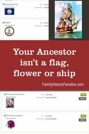 pictures of unnecessary icons on Ancestry with title_ Your ancestor isn't a flag, flower or ship