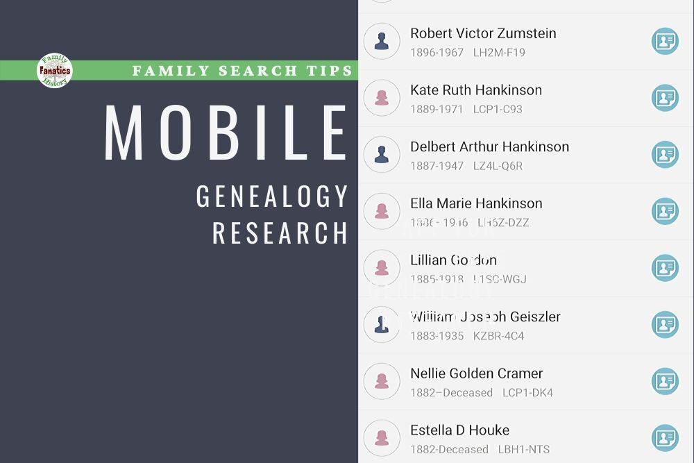 FamilySearch App Screen Shot with title mobile genealogy research tips
