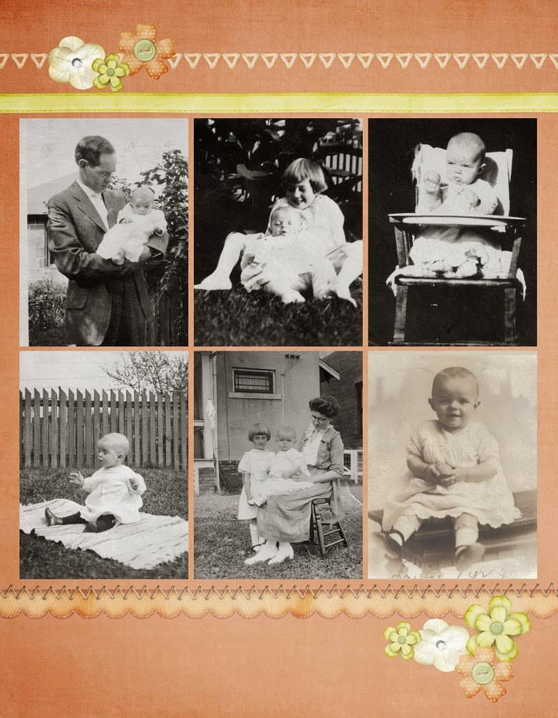 Peach and Green Heritage Scrapbook Layout for toddler
