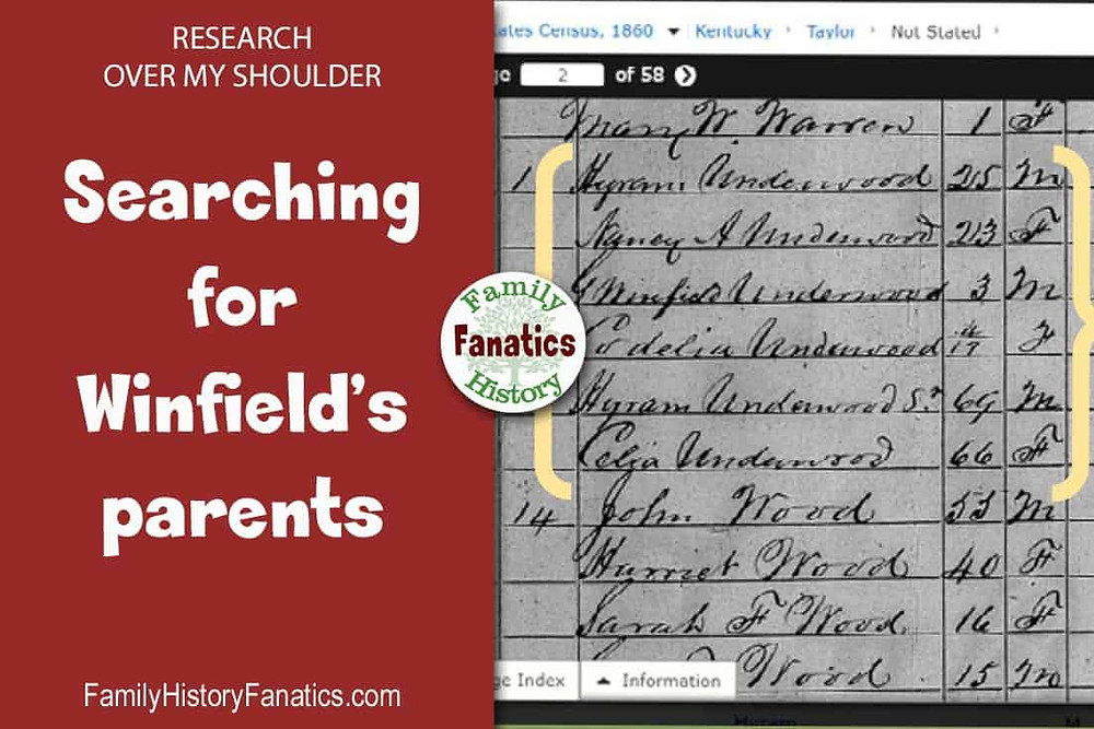 Census record for search for Winfield's parents for family tree