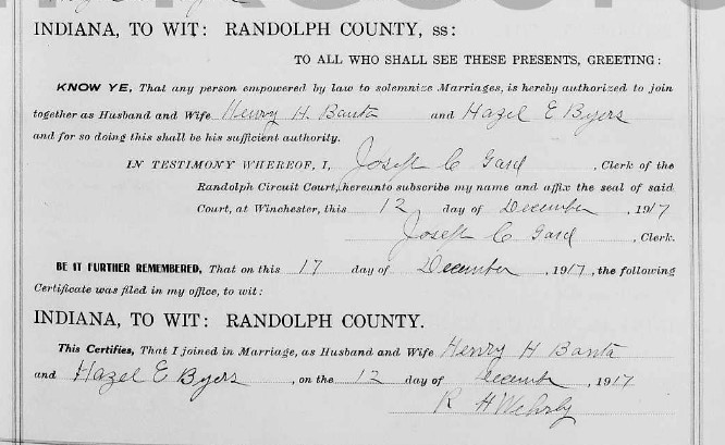 Marriage record for Horace Banata and Hazel Byers