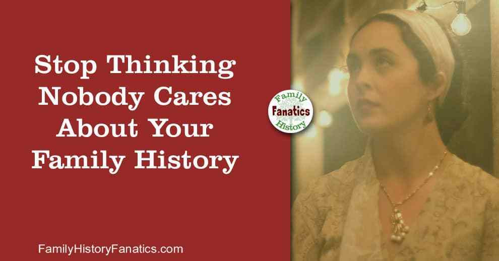 Vintage woman thinking nobody cares about your family history book