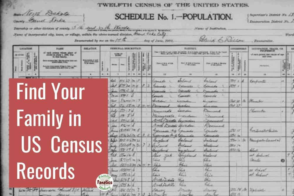 Census record for finding your family on FamilySearch and Ancestry