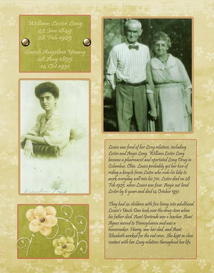 Peach and Green Heritage Scrapbook Layout about great grandparents