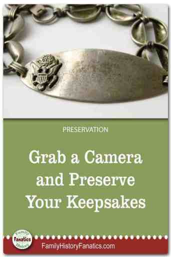 lightbox photo of military bracelet with title grab a camera and preserve your keepsakes