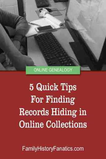 researching on computer with title tips for finding genealogy records online