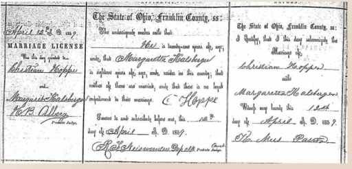 Marriage Certificate for Christian Hoppe and Margaretha Karlsberger
