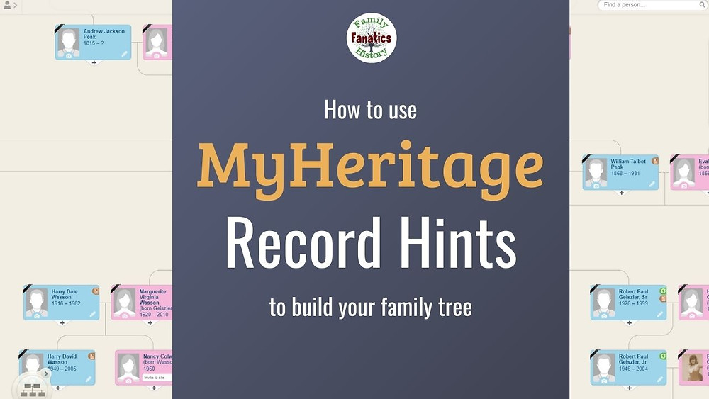 MyHeritage Pedigree with title how to use Record hints to build your family tree
