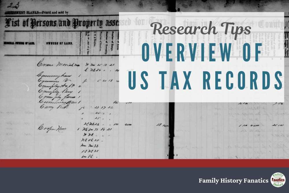 Historic Tax Records with overlay that reads reads Overview of US Tax Records for genealogists
