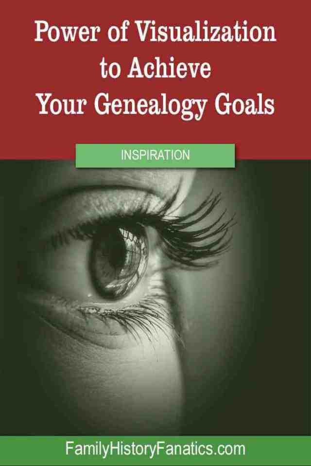 close up of eye with title power of visualization to achieve genealogy goals