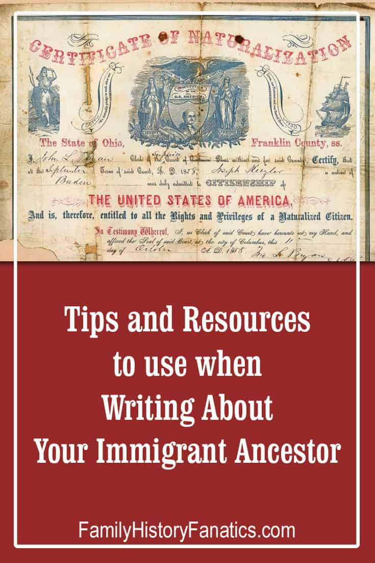 Sepia toned naturalization certificate for Joseph Keizler with the caption: Tips and Resources for writing about your immigrant ancestor