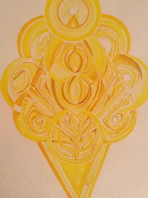 "ART WORK: ""Yellow Meditation: 3rd Chakra"" Acrylic on Paper, 2013"