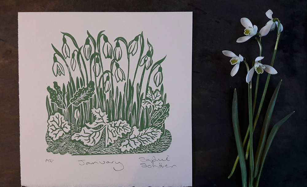 January's Linocut Print Finished