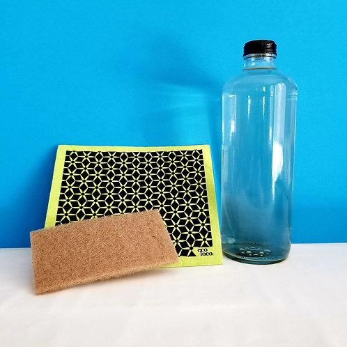 Trio Liquide à vaisselle-récurant-chiffon durable