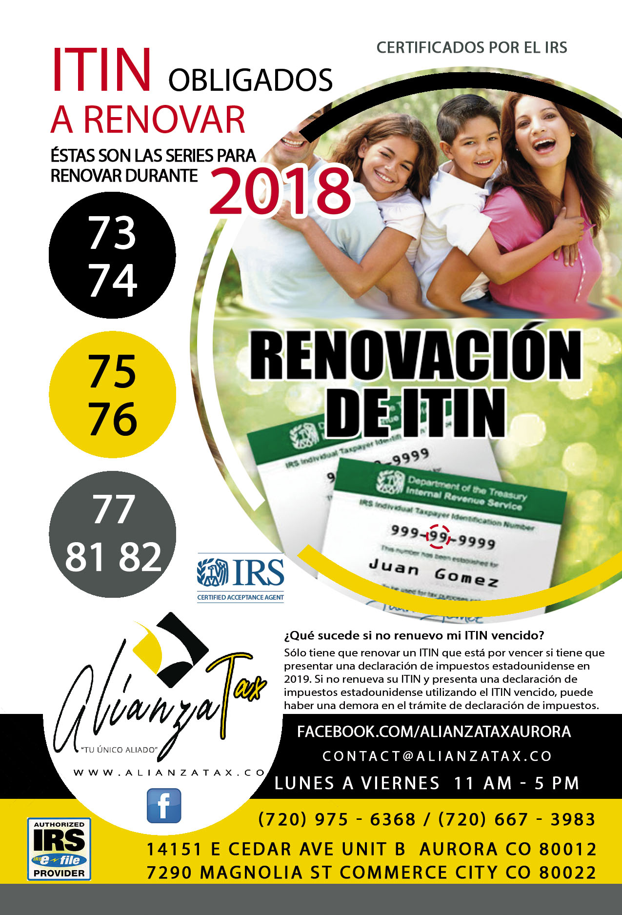 ALIANZA TAX RENEW ITIN 2018