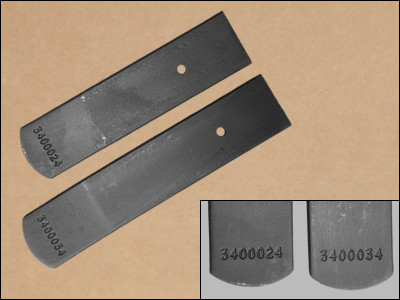 1970-71 E-Body Heavy Duty Leaf Spring Lower Leafs, with Numbers. Used on Hemis and 440s. #3400024 & #3400034