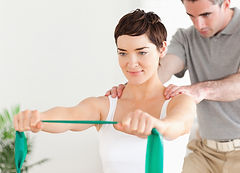 Strengthening exercises, Hand on care, band, shoulder pain, wrist pain