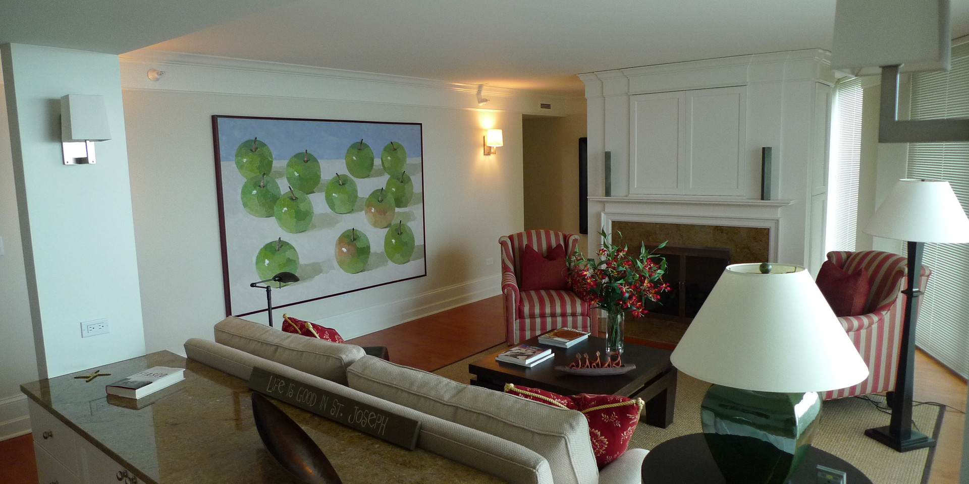 A 60x84 painting in a living room