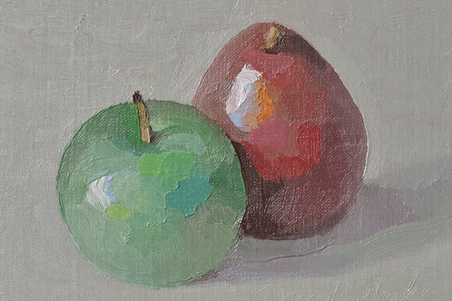 A Green Apple and a Red Pear