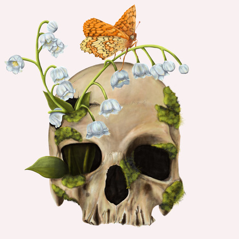 Skull with Lily Of The Valley's