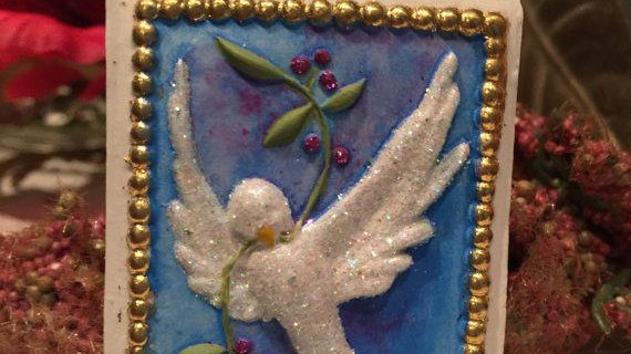 holiday ornament with dove
