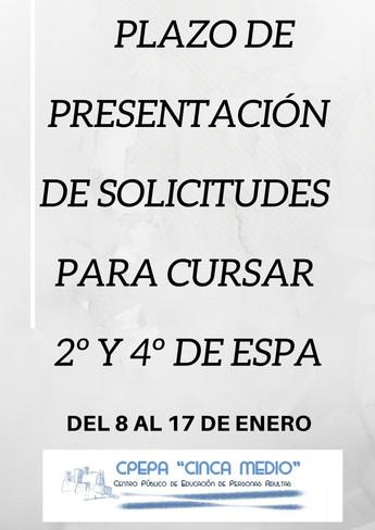 SOLICITUDES PARA CURSAR 2º Y 4º DE ESPA