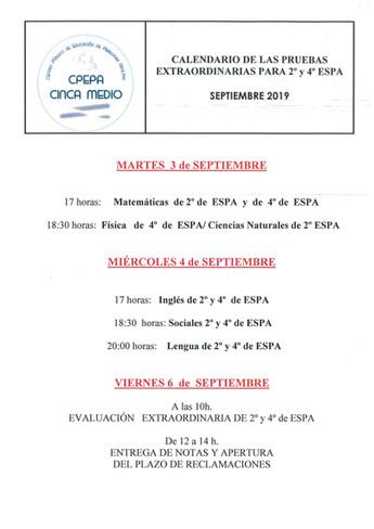 Exámenes septiembre ESPA