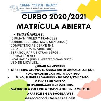 ABIERTO PLAZO DE MATRÍCULA