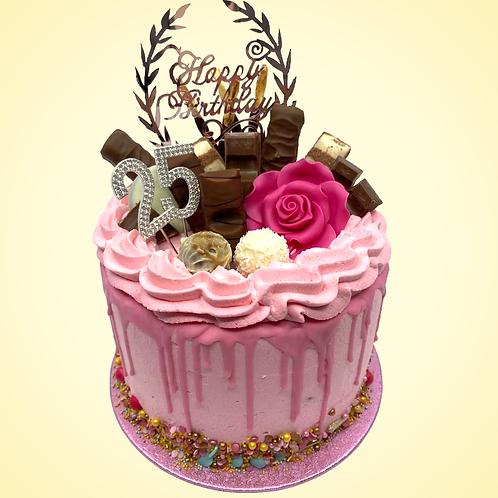 "Custom birthday cake ""Pink Candy bars"" 25 jaar"