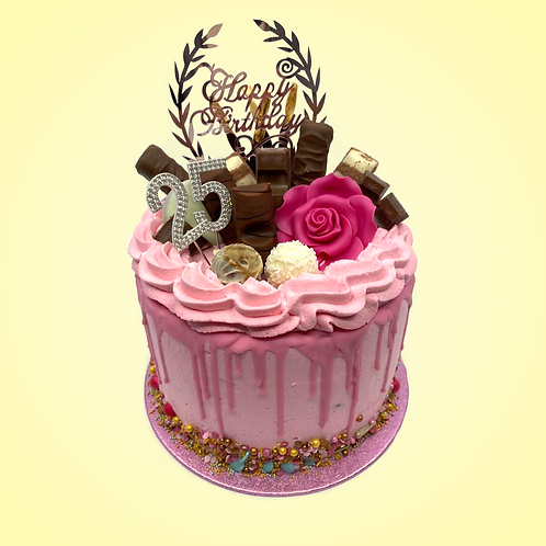 "Custom birthday cake ""Pink Candy bars"" Ellen 25 jaar"