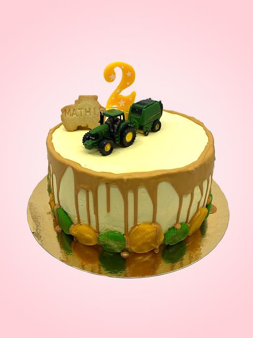 "Custom birthday cake ""Traktor"" Mathis 2 jaar"