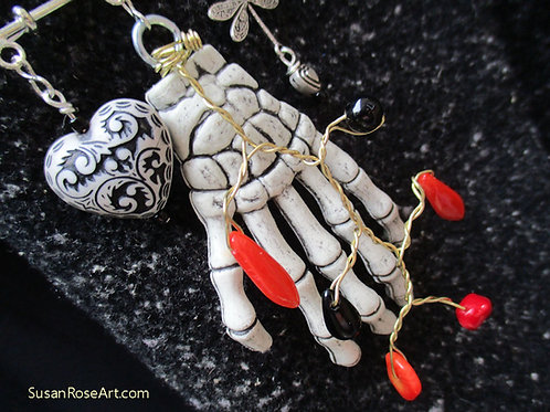 Goth Beads and Skeleton Hand Brooch Pin