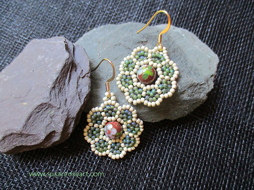 My Green Summer Peyote Earrings
