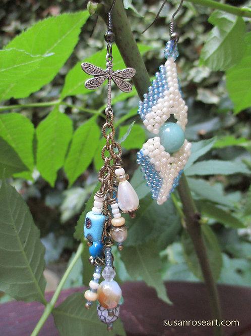 Asymmetrical Glass Petal & Beads Statement Earrings