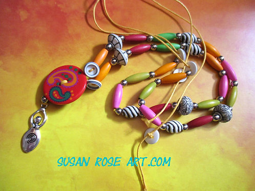 Goddess and Button Necklace