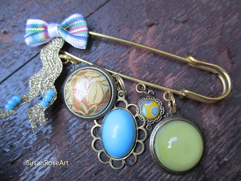 Blue & Yellow Cabochons Brooch Pin