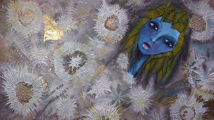 Mixed Media Blue Lady