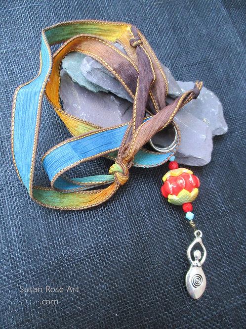 Goddess Blue & Brown Ribbon Necklace