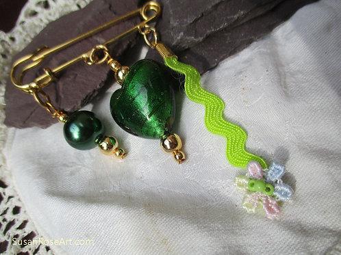 Green Beads Heart Fertility Brooch