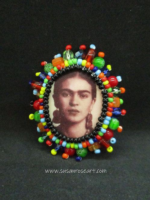 Frida Kahlo Beaded Brooch