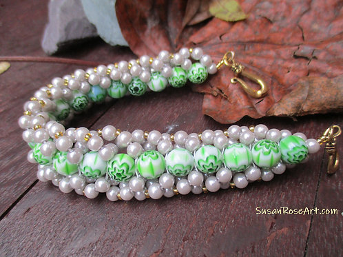 Green Glass and Silver Grey Woven Beads Bracelet